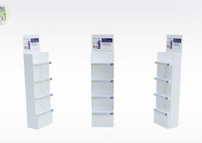 Présentoir carton produits pharmaceutiques