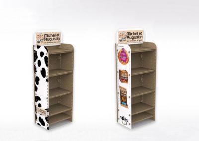 Présentoir en carton et en bois - Lux Emballages