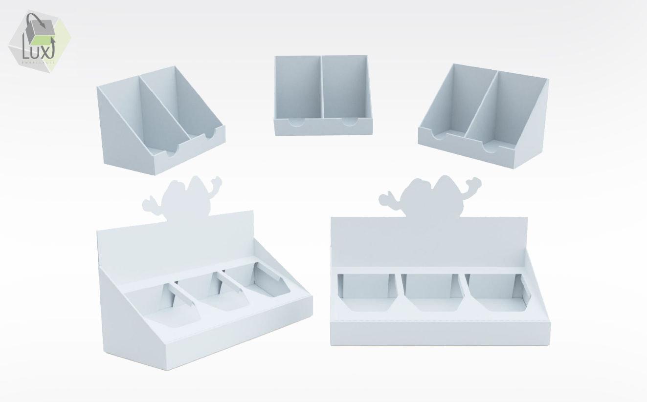 Présentoirs de comptoir en carton - Lux Emballages, expert en PLV carton