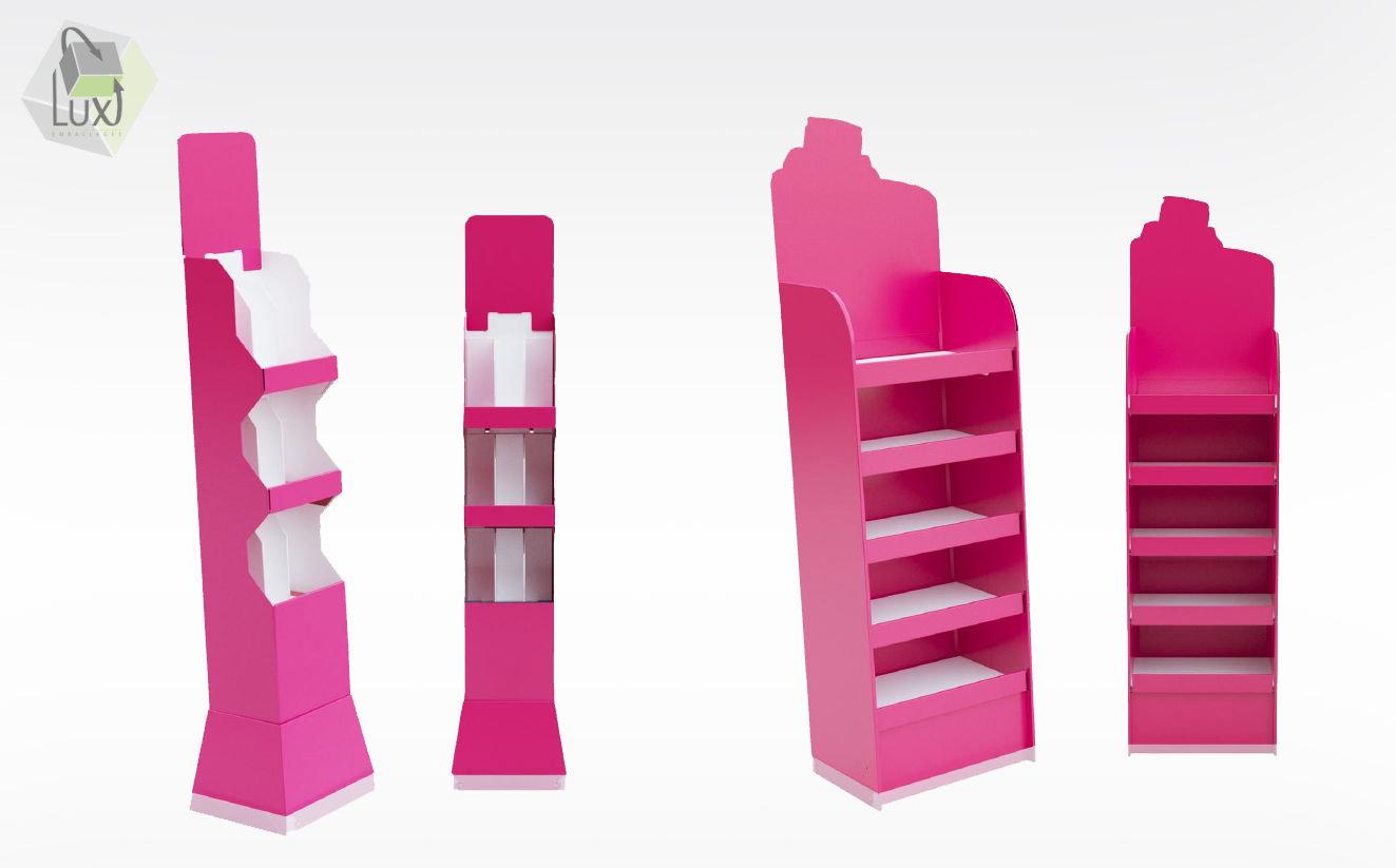 Présentoir carton de toutes les tailles - Lux Emballages, expert en PLV carton