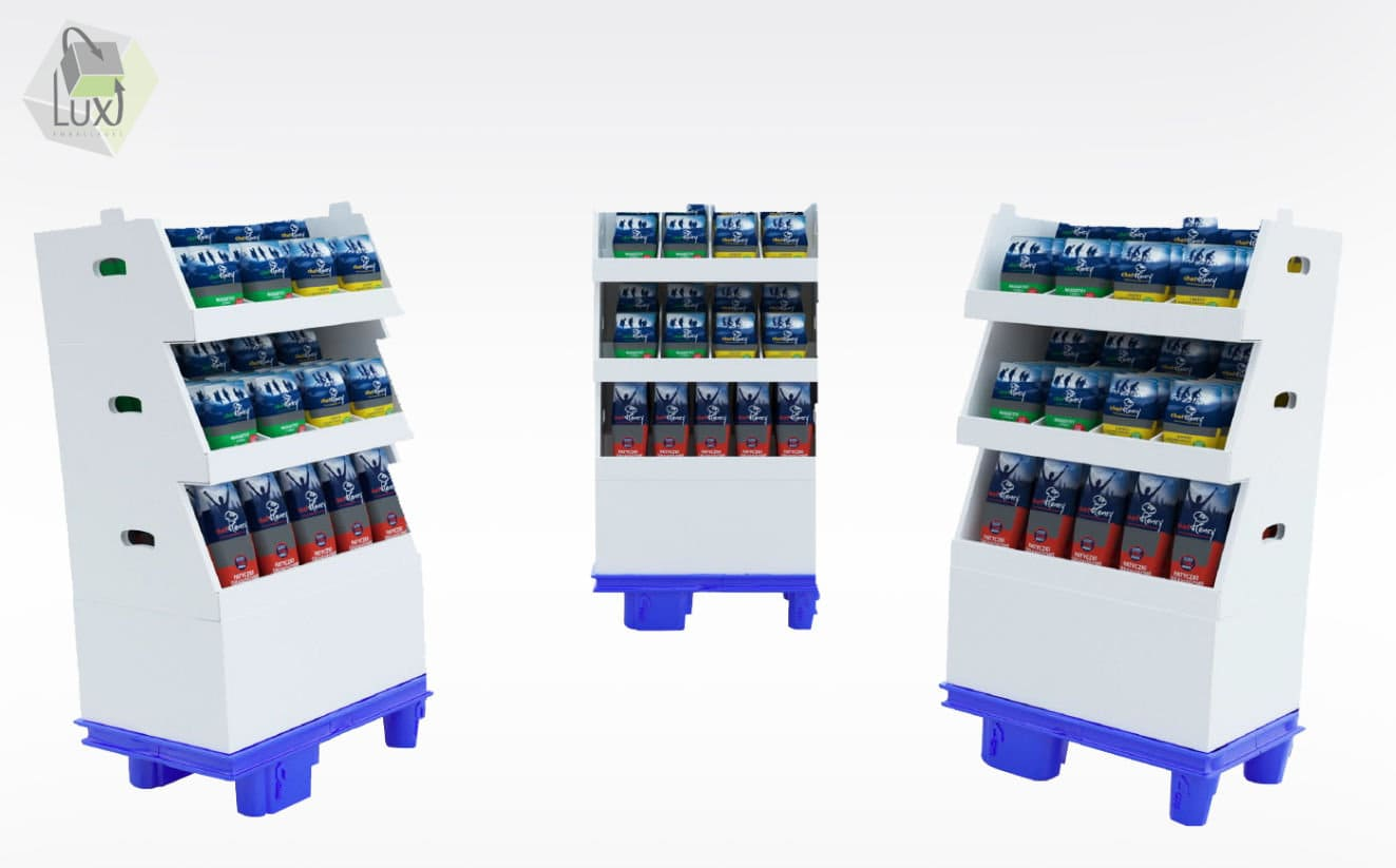 Présentoir carton pour lieu de vente - Lux Emballages, expert en PLV carton