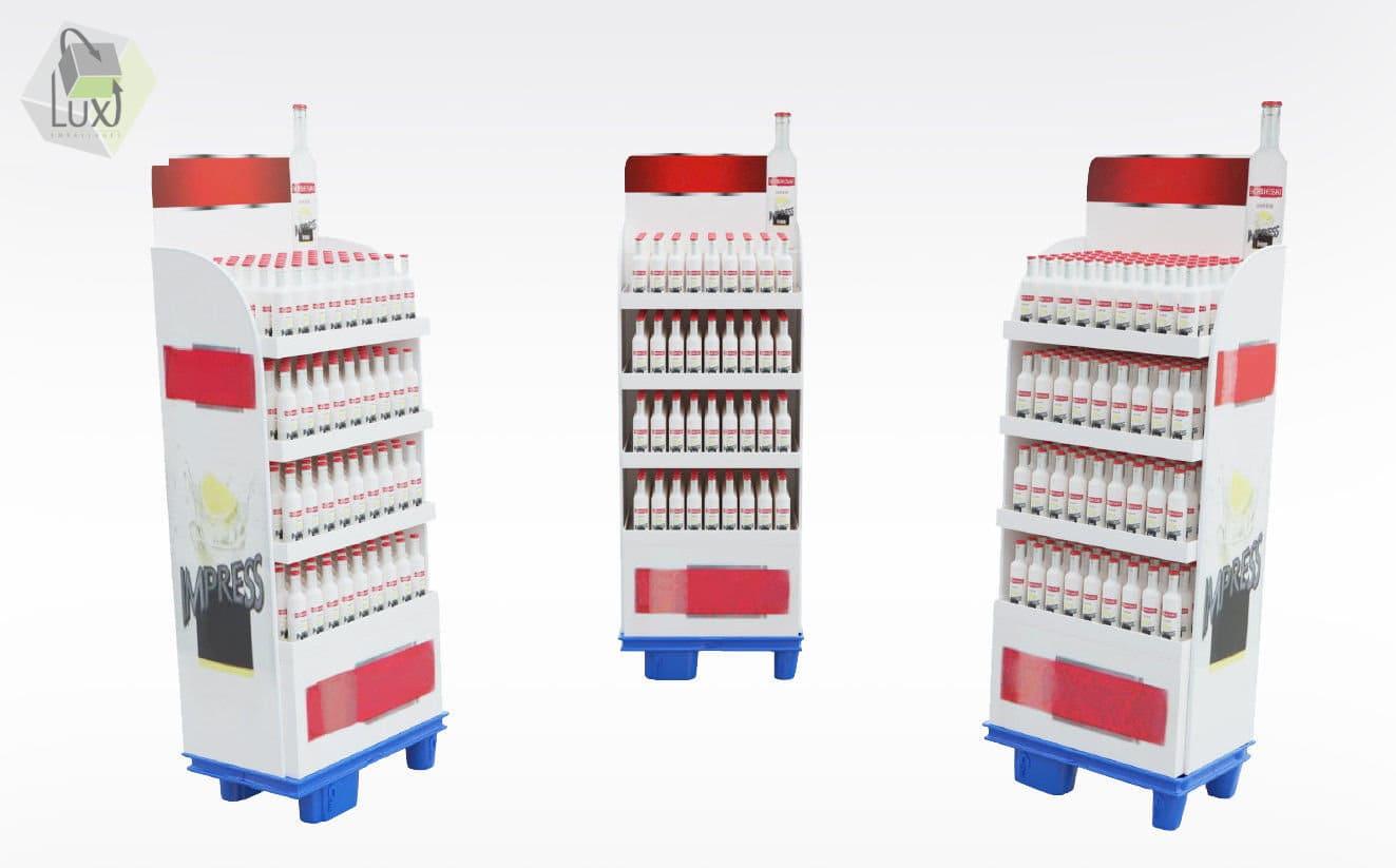 Présentoir carton pour bouteilles en verre - Lux Emballages, expert en PLV carton